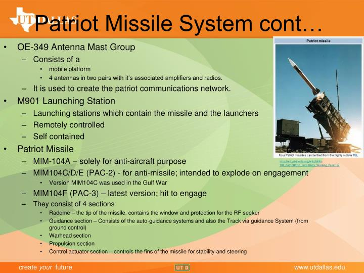Patriot Missile System cont…