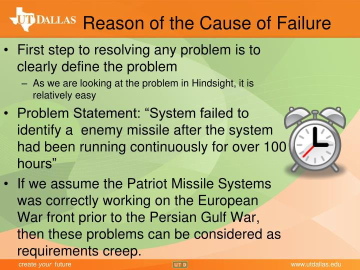 Reason of the Cause of Failure