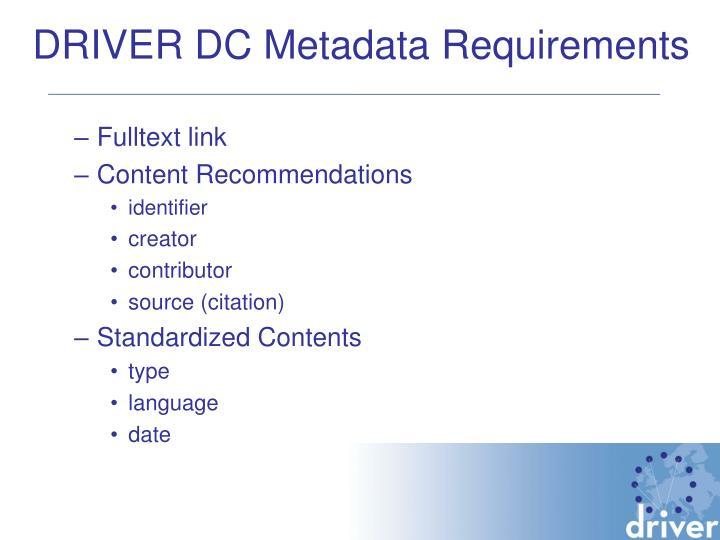 DRIVER DC Metadata Requirements