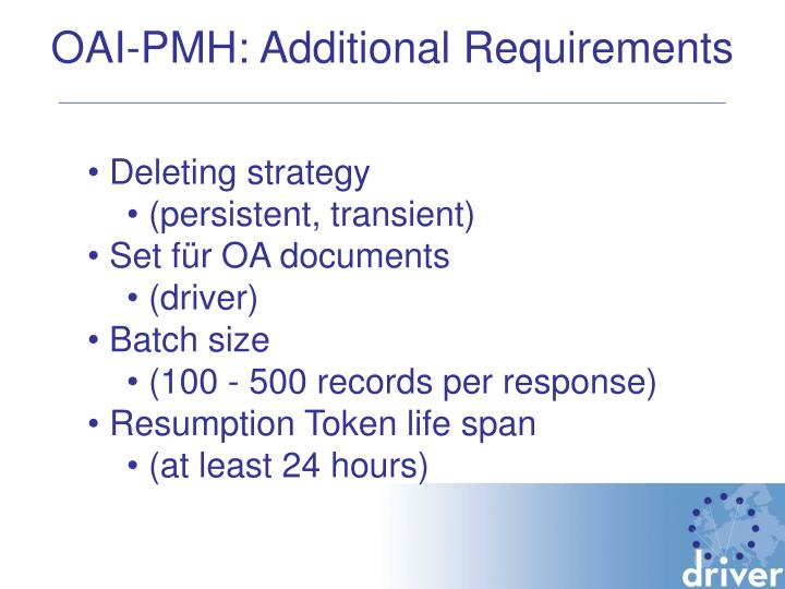 OAI-PMH: Additional Requirements