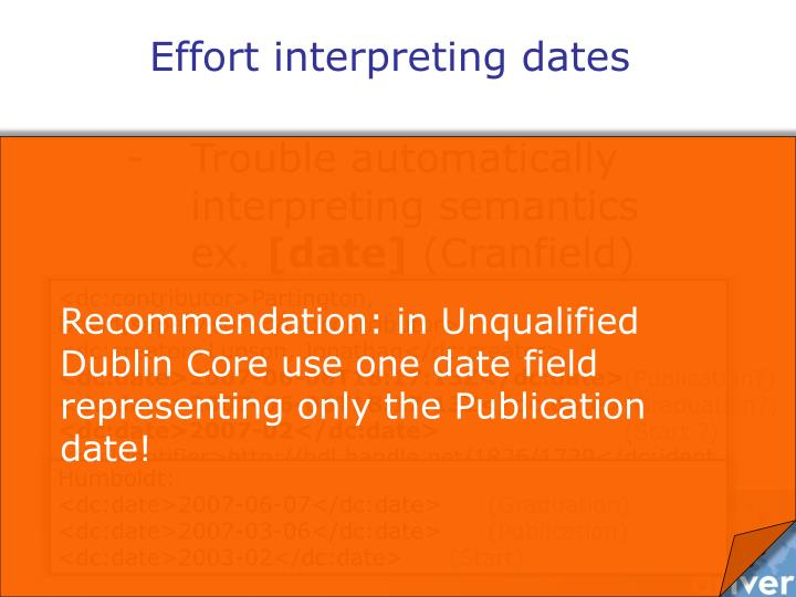 Recommendation: in Unqualified Dublin Core use one date field representing only the Publication date!