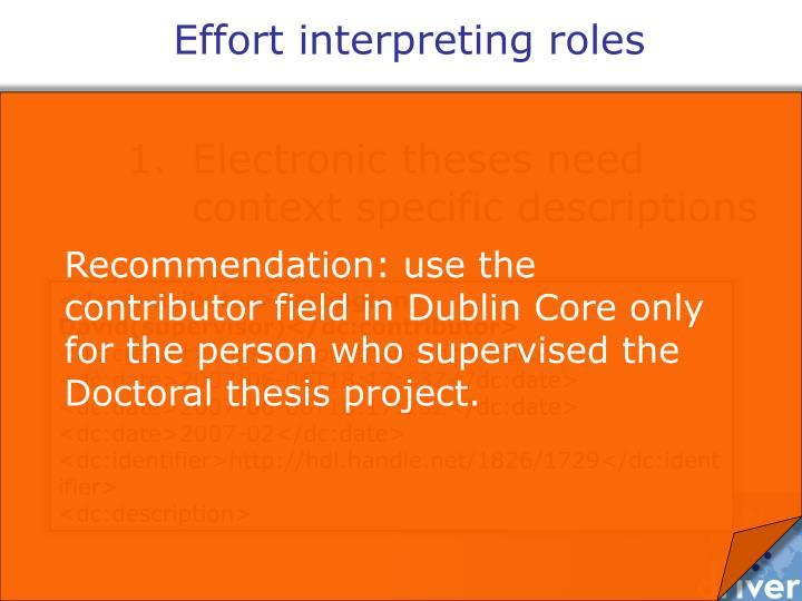 Effort interpreting roles