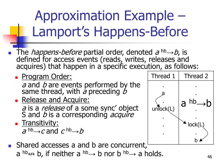 Approximation Example – Lamport's Happens-Before