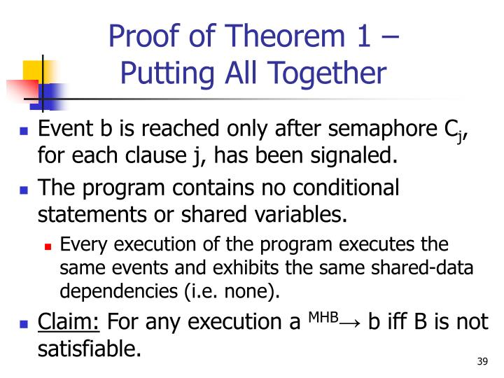 Proof of Theorem 1 –