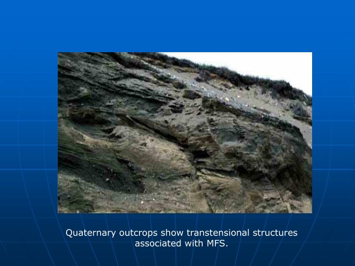 Quaternary outcrops show transtensional structures associated with MFS.