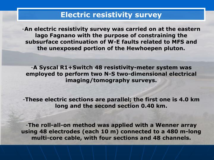 Electric resistivity survey
