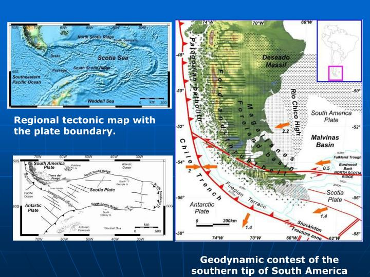 Regional tectonic map with the plate boundary.