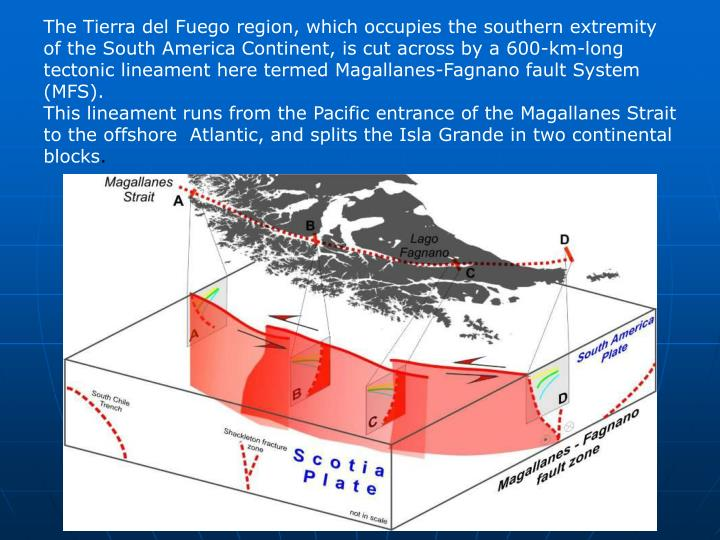 The Tierra del Fuego region, which occupies the southern extremity of the South America Continent, is cut across by a 600-km-long tectonic lineament here termed Magallanes-Fagnano fault System (MFS).