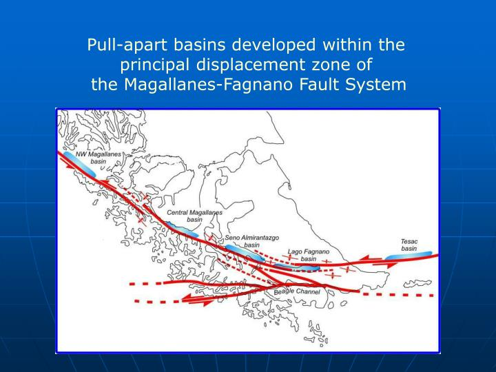 Pull-apart basins developed within the principal displacement zone of