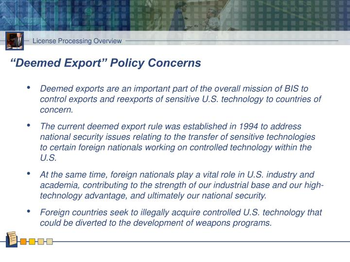 """Deemed Export"" Policy Concerns"
