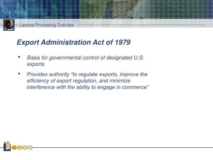 Export administration act of 1979