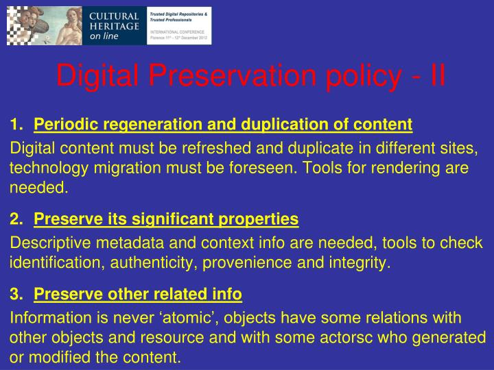 Digital Preservation policy - II