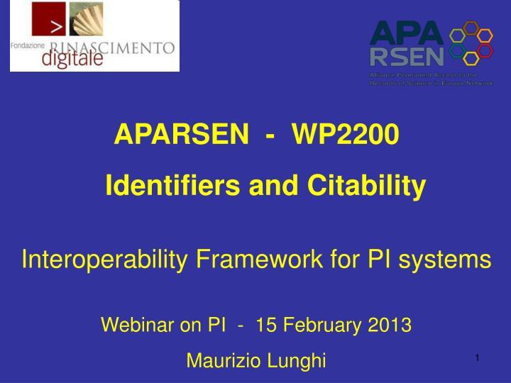 APARSEN  -  WP2200