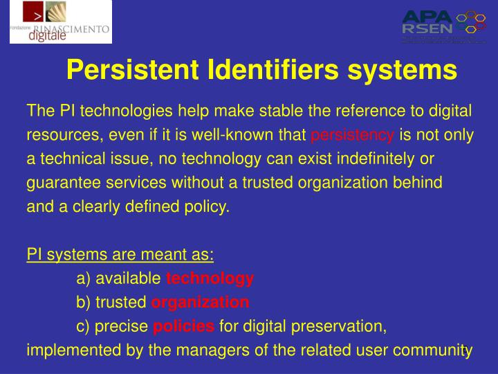 Persistent Identifiers systems