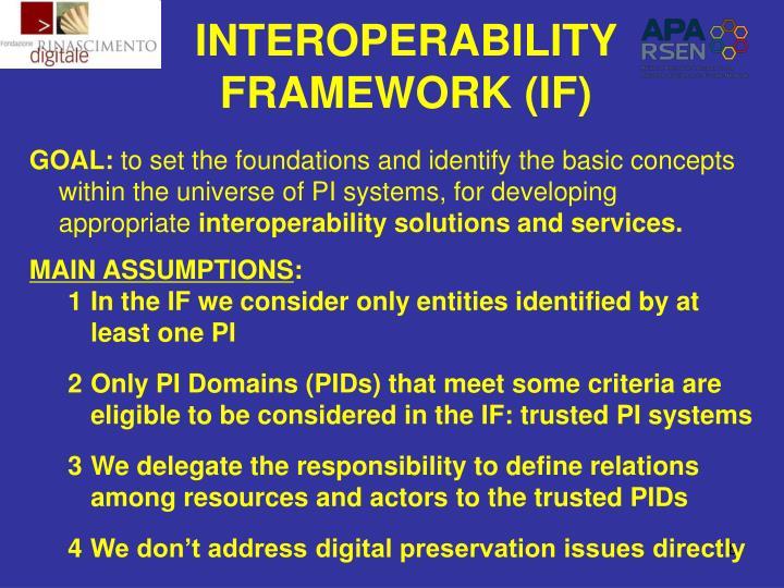INTEROPERABILITY FRAMEWORK (IF)