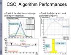 csc algorithm performances