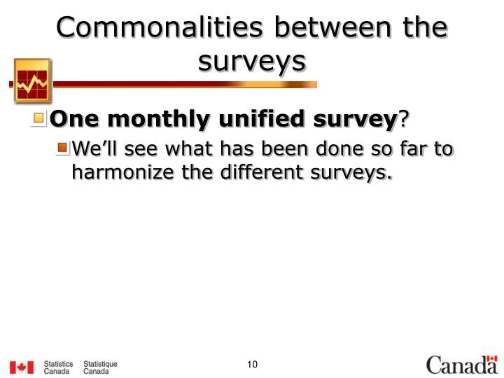 Commonalities between the surveys