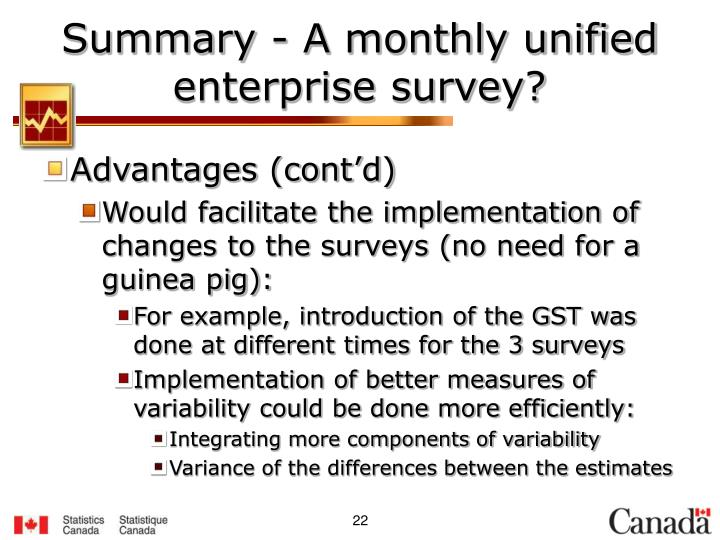 Summary - A monthly unified enterprise survey?