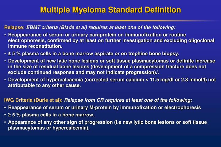 Multiple Myeloma Standard Definition