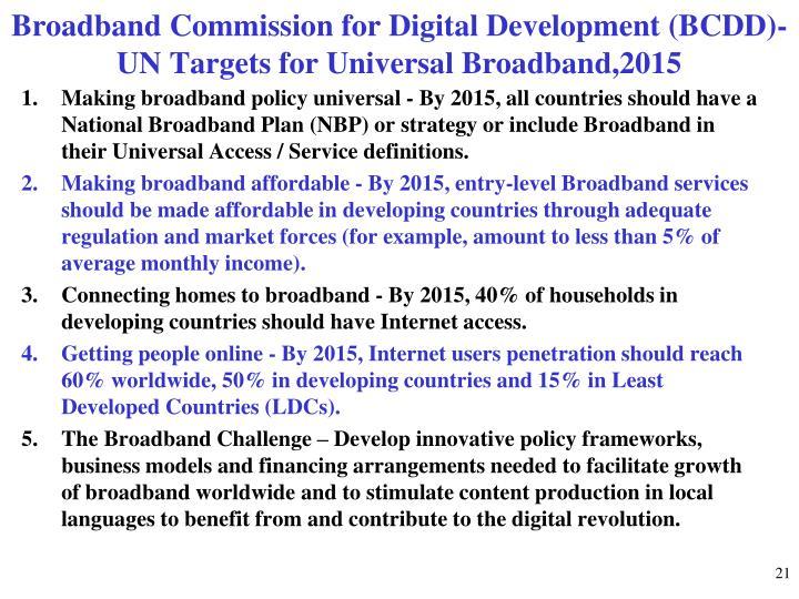 Broadband Commission for Digital Development (BCDD)-UN Targets for Universal Broadband,2015