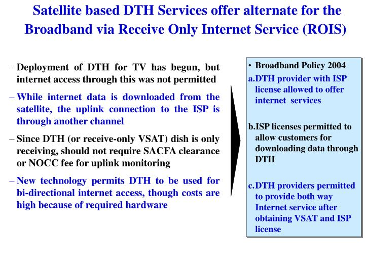 Satellite based DTH Services offer alternate for the Broadband via Receive Only Internet Service (ROIS)