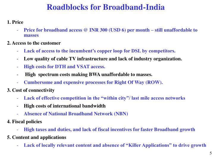 Roadblocks for Broadband-India