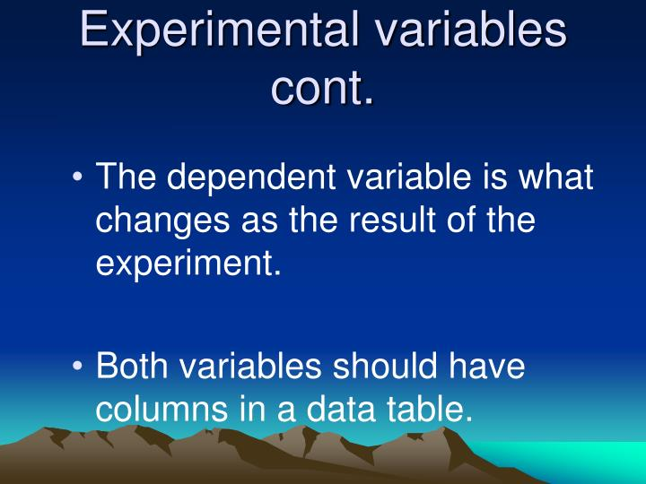 Experimental variables cont.