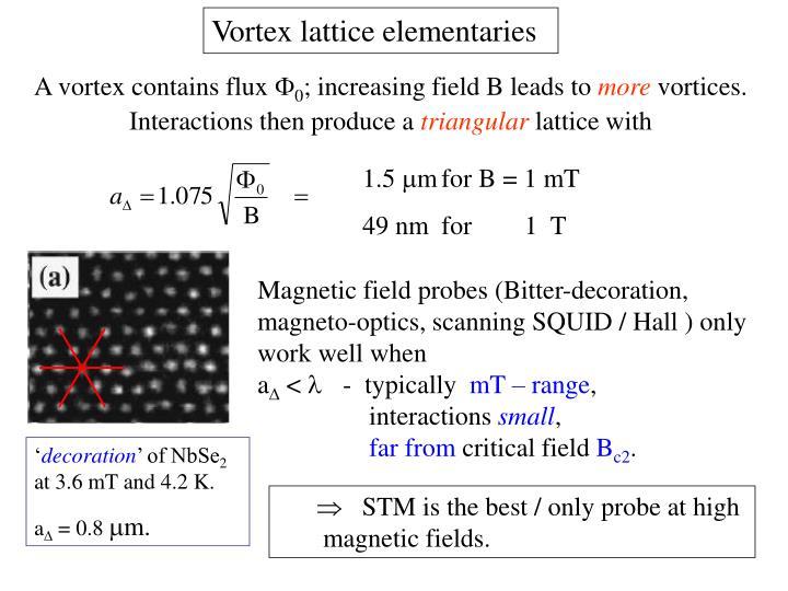 Vortex lattice elementaries