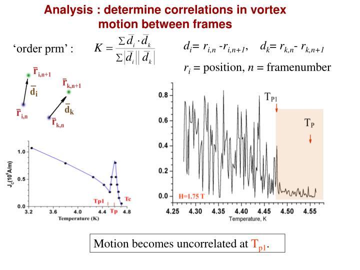 Analysis : determine correlations in vortex motion between frames