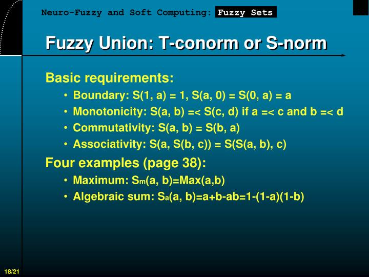 Fuzzy Union: T-conorm or S-norm