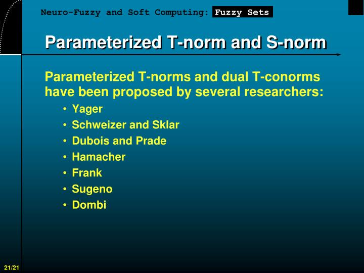 Parameterized T-norm and S-norm