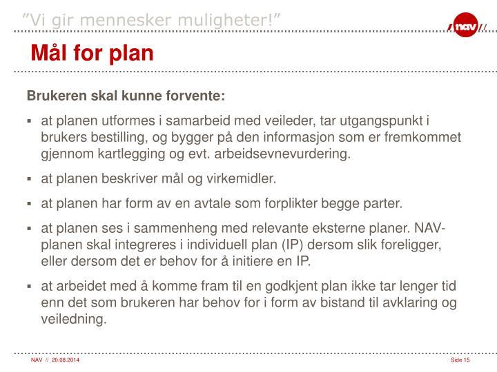 Mål for plan