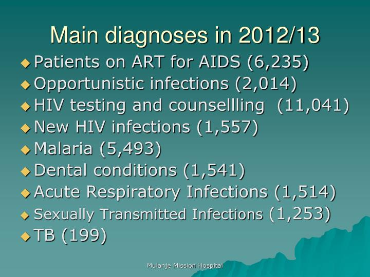 Main diagnoses in 2012/13