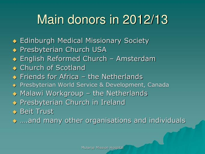 Main donors in 2012/13