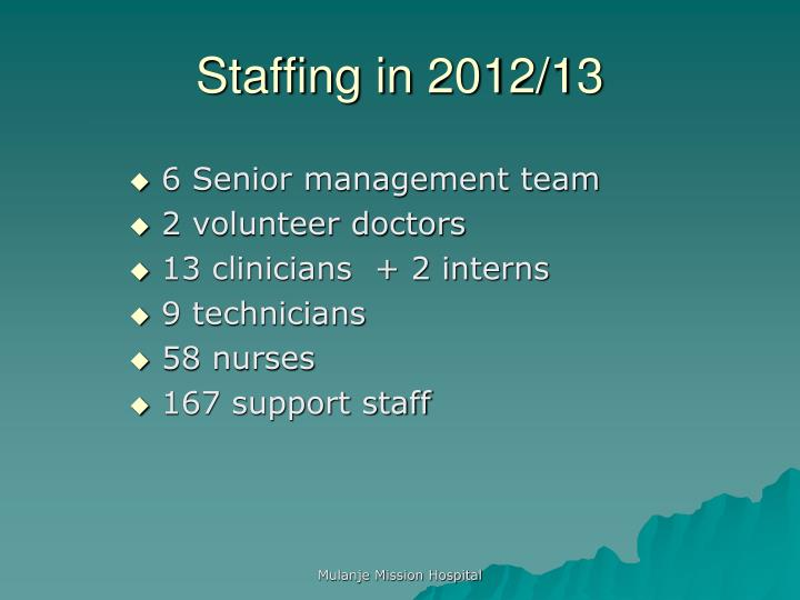 Staffing in 2012/13