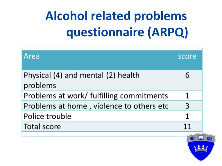 Alcohol related problems questionnaire (ARPQ)