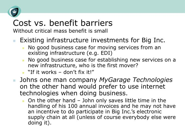 Cost vs. benefit barriers