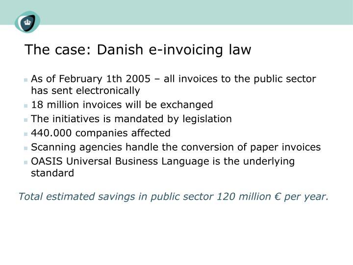 The case: Danish e-invoicing law