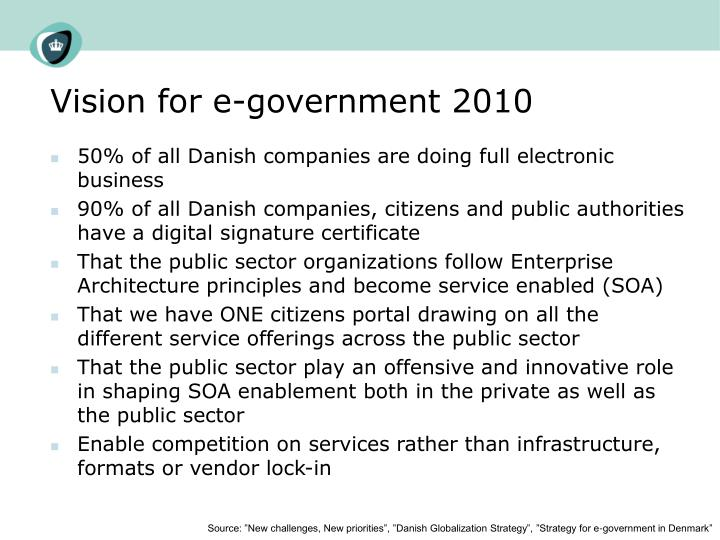 Vision for e-government 2010