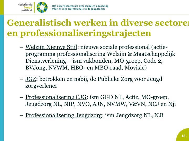 Generalistisch werken in diverse sectoren en professionaliseringstrajecten