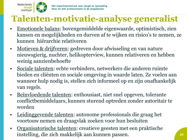 Talenten-motivatie-analyse generalist