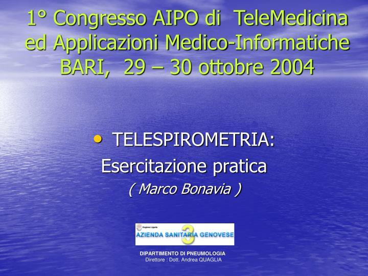 1° Congresso AIPO di  TeleMedicina ed Applicazioni Medico-Informatiche