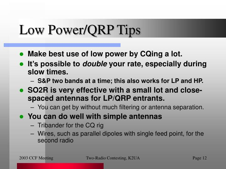 Low Power/QRP Tips