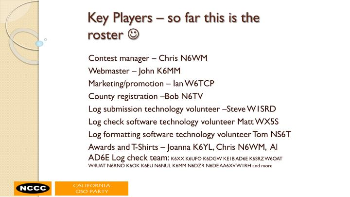 Key Players – so far this is the roster