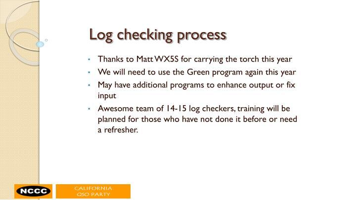 Log checking process