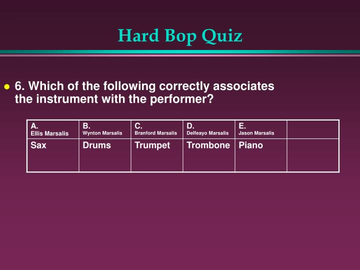 6. Which of the following correctly associates the instrument with the performer?