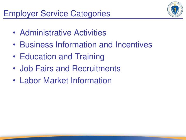 Employer Service Categories