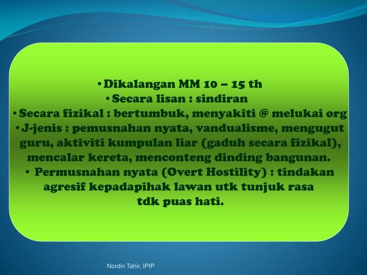 Dikalangan MM 10 – 15 th