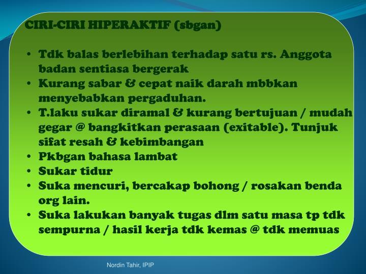 CIRI-CIRI HIPERAKTIF (sbgan)