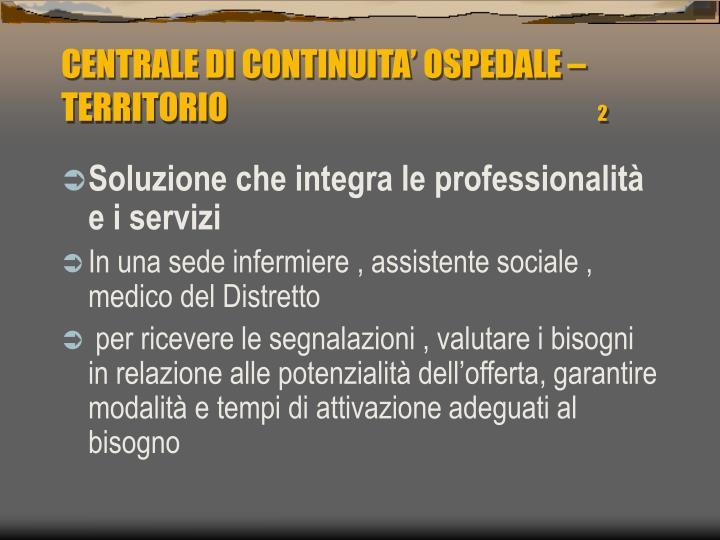 CENTRALE DI CONTINUITA' OSPEDALE – TERRITORIO